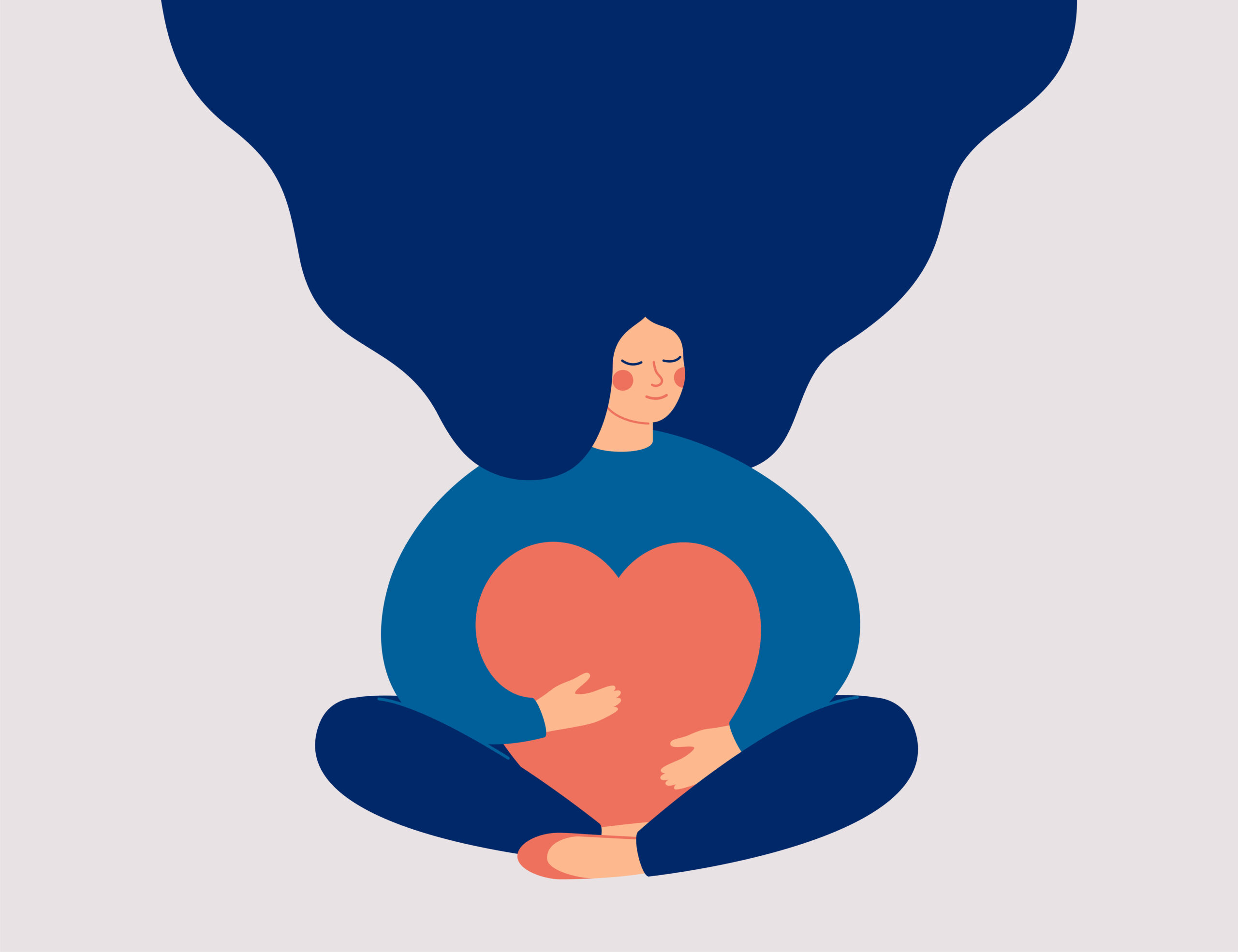 Young woman embraces a big red heart with mindfulness and love. Smiling female character sits in lotos pose with closed eyes and enjoys her freedom and life. Body positive and mental health ... See More By Mary Long