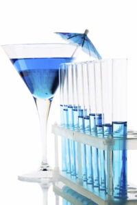 Chemical laboratory glassware equipment and blue cocktail