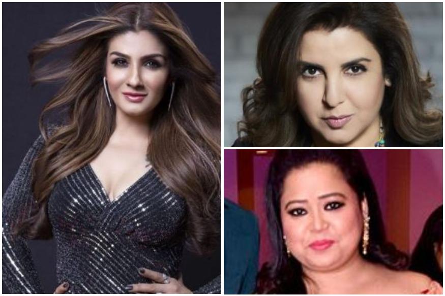 raveena-tandon-bharti-singh-farah-khan-bollywood-hot-gossips-entertainments-saga