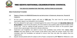KCSE 2020 TIMETABLE DOWNLOAD (PDF)