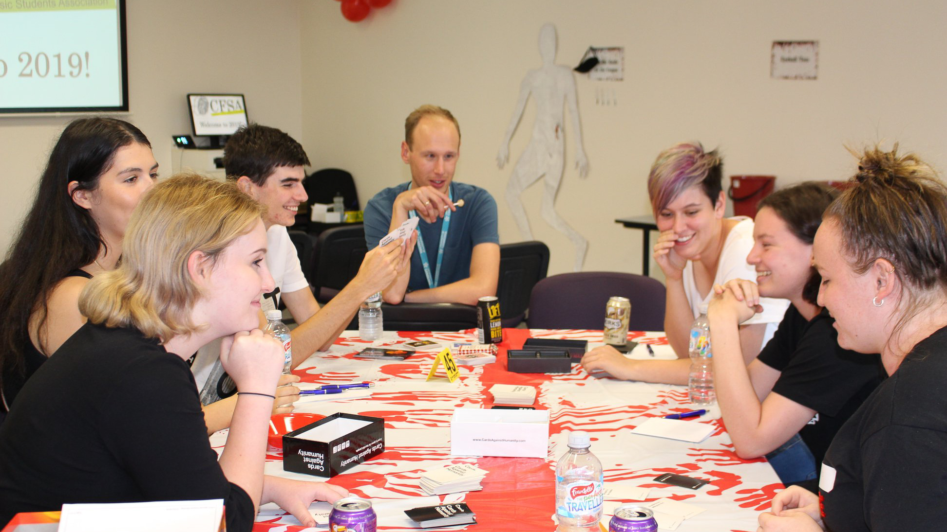 Canberra Forensic Students' Association members play Cards Against Humanity
