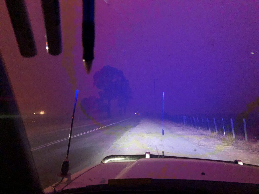 View through car of smoke