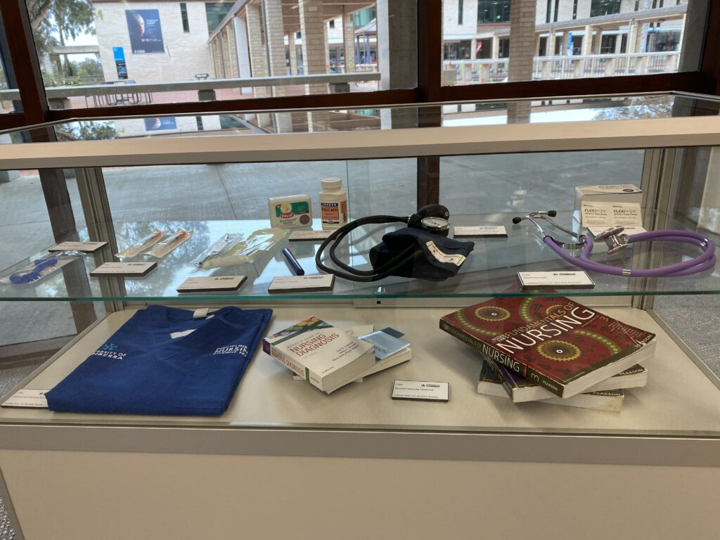 Nursing text books and nursing equipment.