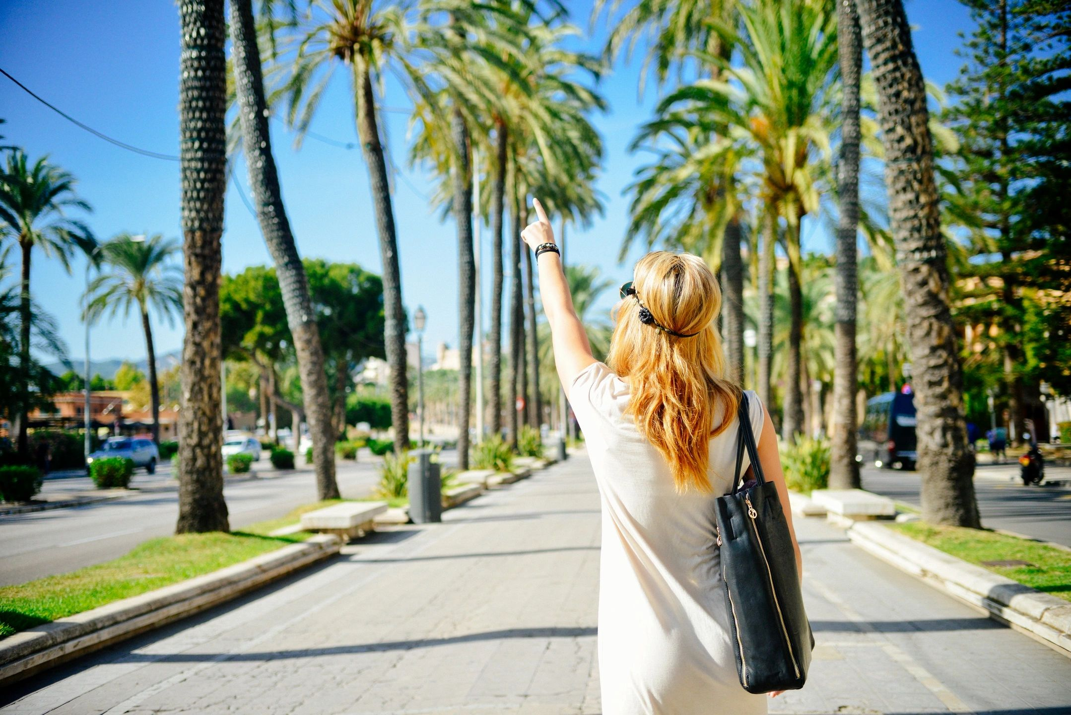 girl and palm trees