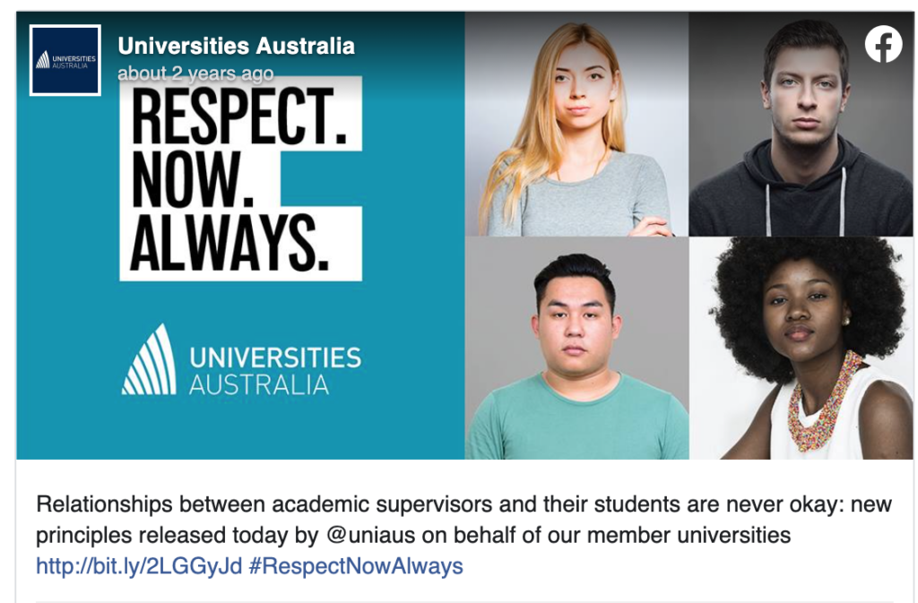 Respect. Now. Always  Relationships between academic supervisors and their students are never okay: New principles releaser today by @uniaus on behalf of our member universities