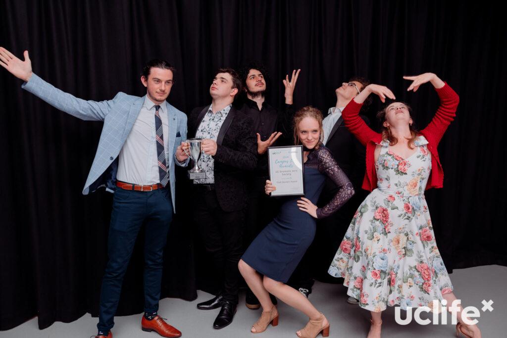 UC Dramatic Arts Club pose dramatically at Campus Life Awards
