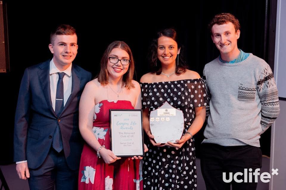 UC Rotaract Club members accept award at UC Campus Life Awards