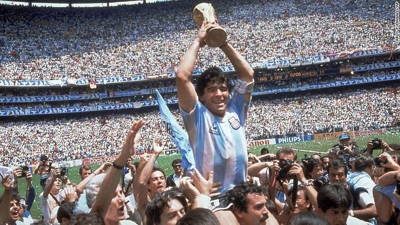 Diego Maradona celebrates win with team