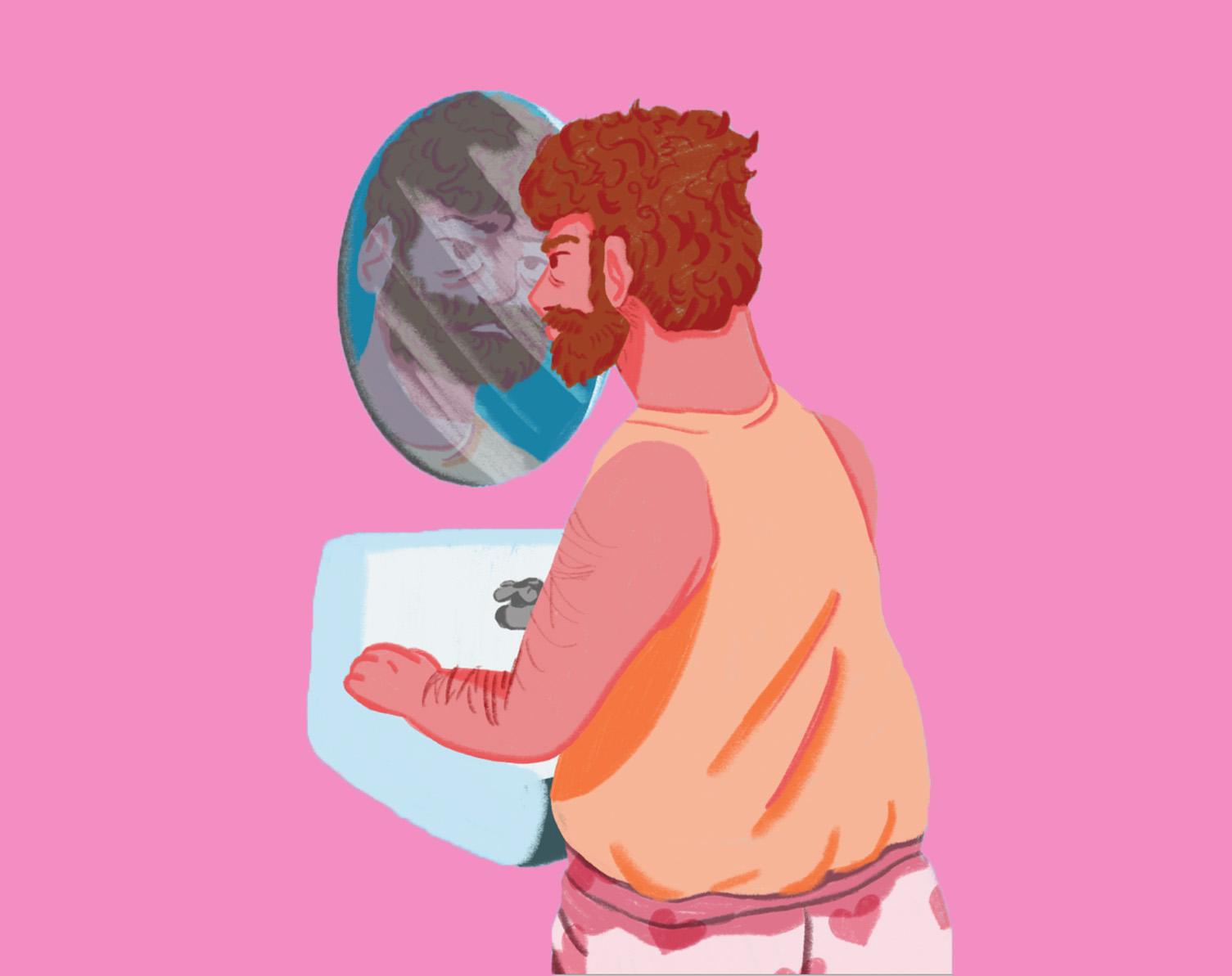 Artwork of man staring into bathroom mirror