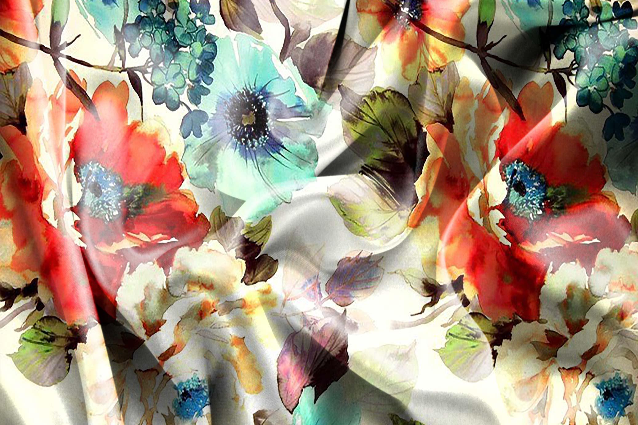 Digital Textile Printing star flower floral