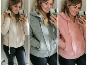 Polly Zip up Knit Hoodie