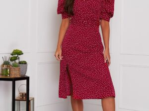 Millie Puff Sleeve Belted Midi Dress Red