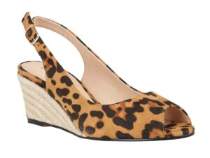 Lotus ULS169 Leopard Wedge Peep Toe