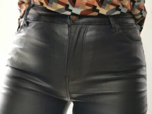 Nina Navy Leather Jeans