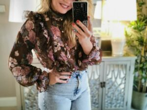 Sarah Brown Flower Blouse