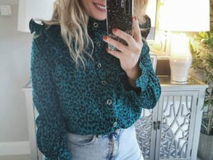 Diana Green leopard blouse/shirt.