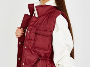Betty Padded Gilet Waistcoat in khaki, wine and Fuchsia