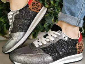 Findlay Black Sparkle and Leopard Trainers