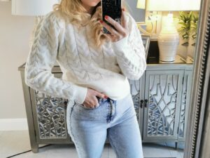 Fitted Round Neck Ribbed Jumper in Pink or Ivory