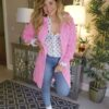 Karen cable knit hooded cardi pink sole sister