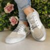 Findlay White Grey and Pink Glitter Trainers sole sister