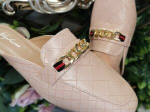 SS Chain Mules in Nude with chain detail
