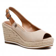 Refresh 72693 Beige Canvas Wedge Slingbacks