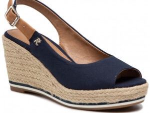 Refresh 72693 Navy Canvas Wedge Slingbacks