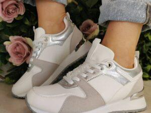 Sole Sister White Silver Trainers