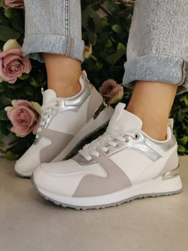 Sole Sister White Wedge Trainer B580 2