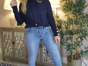 Toxik 4 Button High Waist Blue Jeans L185