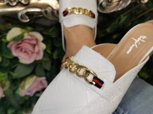 SS Chain Mules in White with chain detail