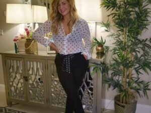 Charlie Crop Belted Trousers in Black or Navy