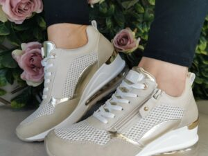 XTI 42626 Beige Wedge Trainers
