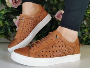 Carmela 67826 Tan Leather Trainer