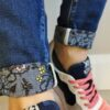 toxik pattern turn up jeans sole sister
