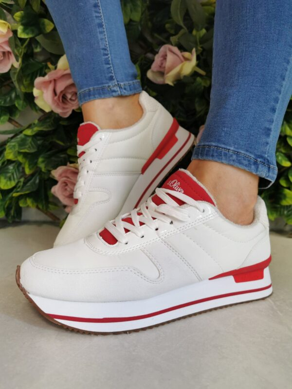 S Oliver 23612 White and Red Platform Trainer Sole Sister 2
