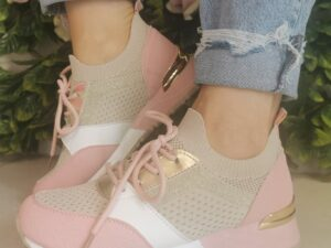 Sole Sister Beige and Pink Trainers