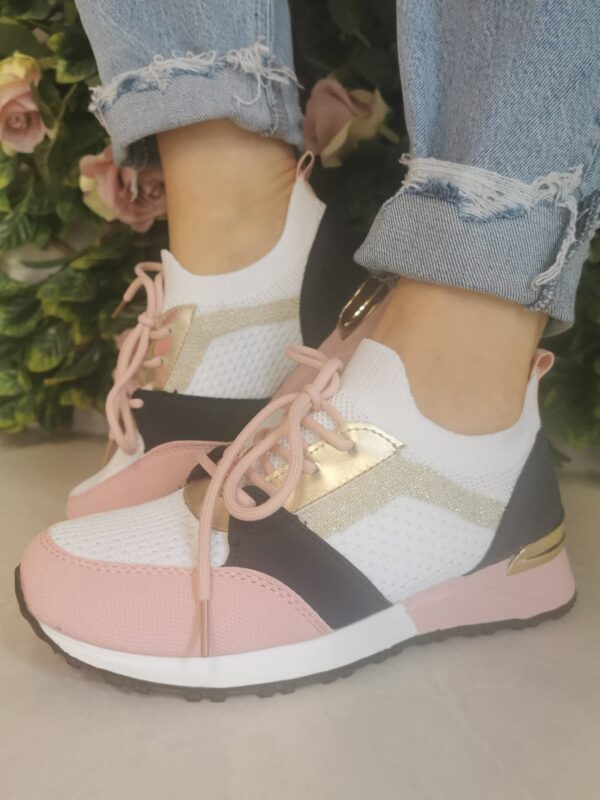 Sole Sister Navy White and Pink Trainers