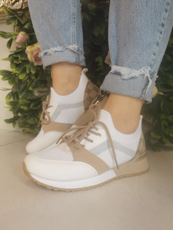 Sole Sister White and Tan Trainers 2