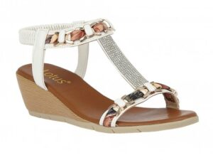 Lotus White Wedge Sandals