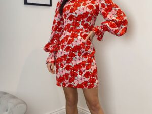 Hadley Puff Sleeve Mini Dress Red/ Pink Floral