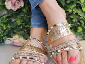 Sole Sister Gold Embellished Sliders