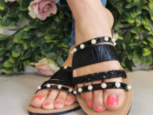 Sole Sister Black Embellished Siders