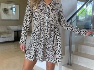 Abbey button front beige Animal print