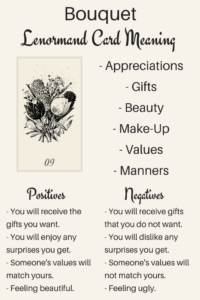 Bouquet Lenormand card meaning. An illustration from a Lenormand Oracle card deck.