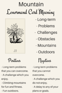 Illustration: Learn the Lenormand Mountain card meaning with Lenormand Oracle. Discover meanings of Mountain for love, timing, Mountain as a person and more card meanings