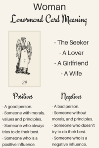 Illustration Learn the Lenormand Woman card meaning with Lenormand Oracle. Discover meanings of Woman for love, timing, Lady as a person and more card meanings.