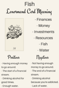 Illustrations Learn the Lenormand Fish card meaning with Lenormand Oracle. Discover meanings of Fish for love, timing, Fish as a person and more card meanings.