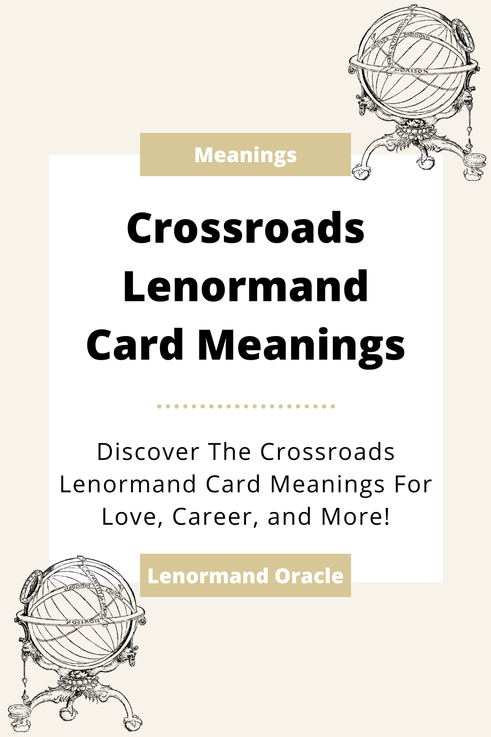Learn the beginner Crossroads Lenormand Card meanings for general readings, love, business, career and more! Learn the good and bad aspects of the Crossroads. Crossroads predicts choices